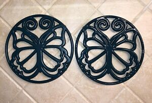 Cast Iron Hot Pot Stand Holder Metal Butterfly Theme Design Excellent Lot of 2