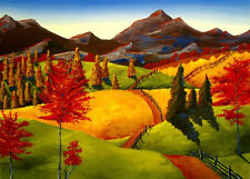 Landscape modern trees bright vivid colors Giclee ACEO print folk art Criswell