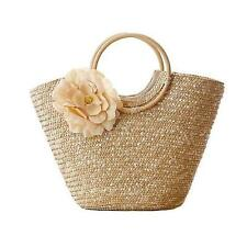 Straw Bag Women Handmade Rattan Beach Handbag Top Round Handle Purse