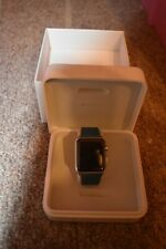 New Apple Watch Series 0 42mm, Stainlesss Steel Marine Blue Leather Band