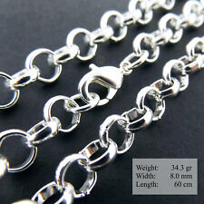 925 Sterling Silver Necklace Chain S/F Mens Women Ladies Solid Belcher Link 24""