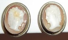 Oval Carved Fine Jewelry Old Vintage 800 Silver Cameo Screwback Earrings
