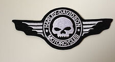 "HARLEY Davidson Patch ricamate ""Scull & Wings"" NUOVO + RAR"