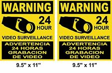 2 Large CCTV Surveillance Security Camera Video Sticker Warning Decal Home Sign