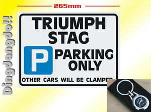Parking Sign & ID Tag Keyring Labelled For Triumph Stag Gift Set Key Ring