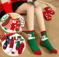 Winter Warm Women Christmas Ankle Socks Thicken Coral Fleece Fluffy Middle Tube