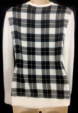 Equipment Blouse White Knit Front Plaid Silk Back Long Sleeve Size Xs