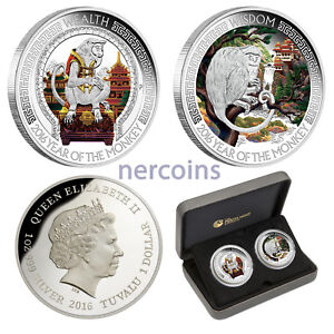 Tuvalu 2016 Good Fortune Lunar Monkey 2-coin Set Pure Silver Proof Color Perfect