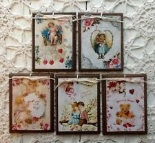 *New* 5 Handcrafted Wooden Valentine Ornaments / Hang Tags Setj