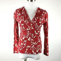 Charter Club P Small Knit Top Red Floral Print Cross V 3/4 Sleeve
