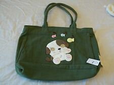 Green Purse W Handles Puppy Dog With Fish Pet Shop New W Tags 100% Cotton