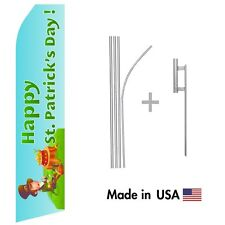 Happy St Patricks Day Econo Flag 16ft Advertising Swooper Flag Kit with Hardware