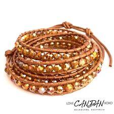 Autumn Reflection Wrap Brown Leather 5 Wrap Sparkling Crystal Wrap Bracelet