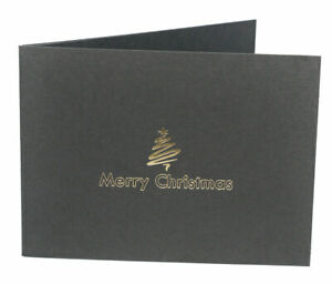 Pack of 10 - 6x4 / 4x6 Black Christmas Photo Folder - Landscape or Portrait