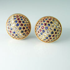Dome Button Diamond Earrings Ruby Sapphire Red White Blue Patriotic 14K Gold