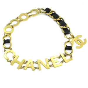 CHANEL Jumbo CC COCO Gold Chain Belt Black Leather 94P Authentic 32810