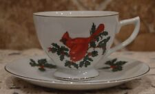 BEAUTIFUL VINTAGE LEFTON CARDINAL CUP AND SAUCER~CHRISTMAS~LOVELY FOR DISPLAY!