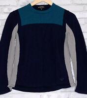 Emporio Armani Men's Size 48 Crew Neck Color-Block Blue Pullover Sweater 3642