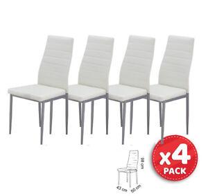 Pack x4 Sillas de comedor tapizado polipiel blanco - estructura metálica