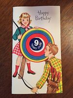 "Vintage Birthday Card ""Happy Birthday"" Number 9 Button NEW w/ envelope"