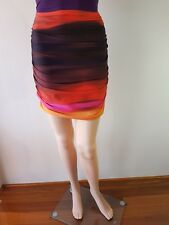 e620d7a8ad KOOKAI Ladies Red Pink Orange Stripe Lined Fitted Knee Length Skirt Size  2  EC
