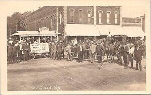 RPPC Winfield KS Street Scene Last Trip of Donkey-Drawn Streetcar 1909
