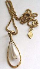 collier pendentif bijou vintage couleur or perle goutte d'eau pendant * 4812