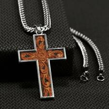 Twister Western Jewelry Mens Necklace Leather Inlay Cross 32104