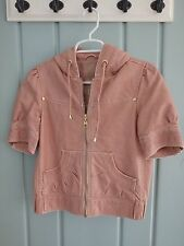Big Chill Size XS Vegan Leather Hooded Zip Jacket Distressed Lined Peach Hood