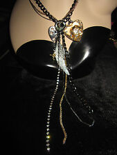 BETSEY JOHNSON LUCITE HEART WITH GOLD FLOWER WINGS ANGEL MULTI CHAIN NECKLACE