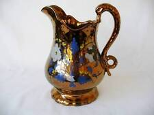 19th c Victorian Copper lustre Jug - Swan Handled Jug