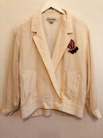 Lillie Rubin Adam Douglass Vintage Silk Jacket Top Beaded & Sequin Flowers Sz P