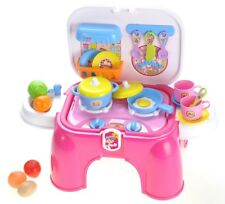 Electric Portable Kids Kitchen Cooking Set Toy Lights & Sounds Pink New