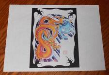 Yellow Dragon Devil Tattoo Flash Sheet Vintage Art Print 8.5x11