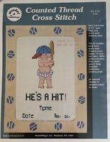 Needle Magic Inc Baby Counted Cross Stitch Kit He's/She's A Hit! Birth Name Date