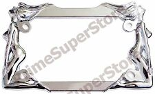 Nude/Naked Ladies Women Twin Girls Chrome Metal Motorcycle License Plate Frame