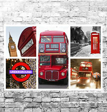 STUNNING LONDON CITYSCAPES CANVAS COLLAGE #3 QUALITY WALL ART A1 BOX CANVAS