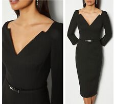 GORGEOUS KAREN MILLEN BLACK FOREVER BAR BELT PENCIL BELTED DRESS SIZE 14