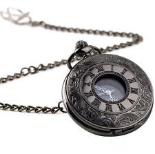 Black Pendant Quartz Antique Vintage 2016 Steampunk Retro Watch Pocket Necklace