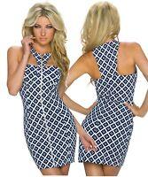 Vestito mini abito grafico rombi scollo cut sexy zip centrale nuovo