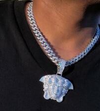 White Gold Diamond Finish Big Pendant Icy Men's Ice Out Miami Cuban Chain 14k