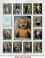 "Baby First Year Personalized INSERT (No Frame) - Holds Twelve 2.5"" x 3.5"" Photos"