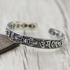 925 Sterling Silver Tibetan Mantra Vajra Dorje 卍 Cuff Bracelet 33g Women A2459
