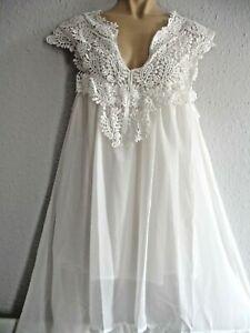 White Summer Cute Lace Yoke Festival Hippy Boho Dress lined one size 12/14/16