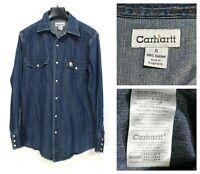 CARHARTT Men's Shirt Size Small Long Sleeve Denim Regular Collar Blue ma0475