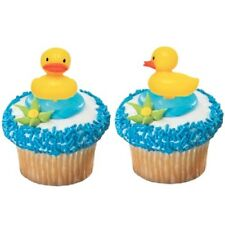 NEW 12 BABY SHOWER RUBBER DUCK CUPCAKE PICKS /FAVOURS (12)