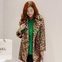 Fashion womens Leopard Print jacket faux fur coat winter warm overcoat Outwear#B