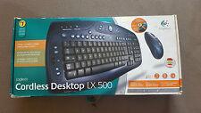 Logitech LX 500 Tastatur in OVP,  opt. Maus, Desktop Receiver, Netzteil, Auflage