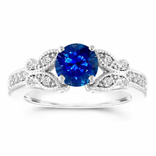 Sapphire Butterfly Engagement Ring, 1.18 Carat 14k White Gold Certified Handmade
