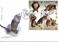 Ukraine 2016 FDC Bechstein's Bat WWF 4v Block Cover Bats Wild Animals Stamps